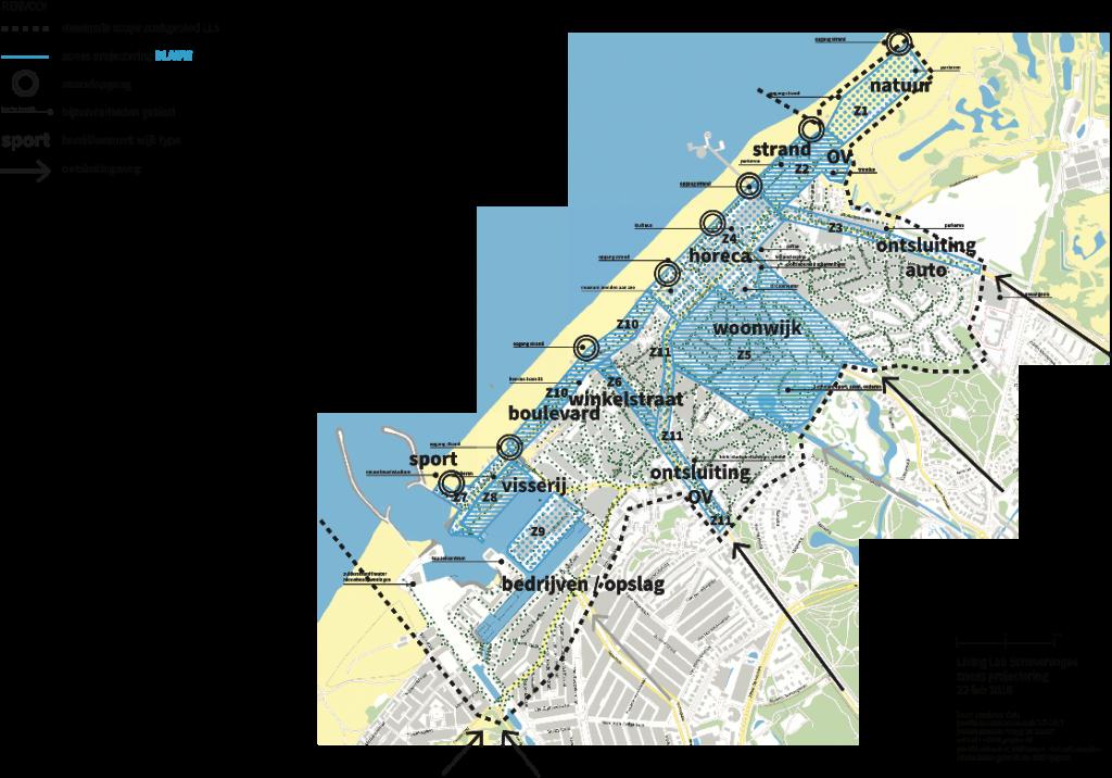 Geografische indeling naar zones zien. De zones zijn getypeerd naar het dominante gebruik, oftewel bestemming.